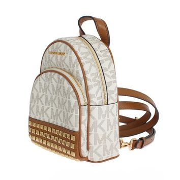Michael Kors White ABBEY Leather XS Backpack