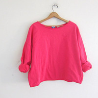 vintage pink sweatshirt. slouchy cropped sweater. baggy boxy sweatshirt. basic sweatshirt