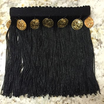 Limited edition gypsy coin fringe upper arm cuff band - custom made - festival style