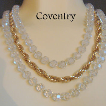 Vintage Sarah Coventry Bib Necklace / Designer / Clear Lucite Beads / Goldtone Chains / Costume Jewelry / Jewellery