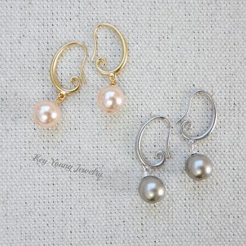 Simple pearl earrings, Wedding earrings, Bridesmaid earrings, Simple everyday jewelry