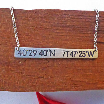 Longitude, Latitude, Location GPS Necklace Compass Coordinates Personalized silver bar necklace Custom Engraved Horizontal Initial Celebrity