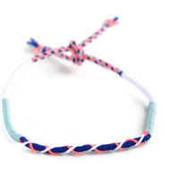 Bright Friendship Bracelet and Anklet, Neon Pink, Navy Blue, White and Light Blue Wanderlust Friendship Anklets