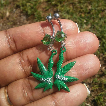 Best Buds, marijuana, pot leaf 14 gauge surgical steel belly button ring, navel ring, body jewelry