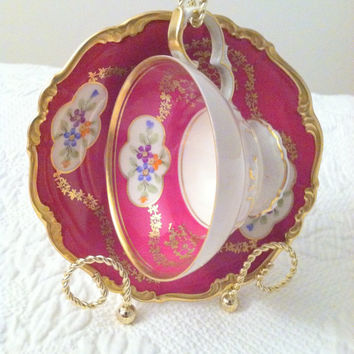 Antique Handpainted Footed Edelstein Bavaria Germany/Rare Maria Theresia Pattern/Marie Antoinette Inspired/Tea Cup and Saucer/Tea Party