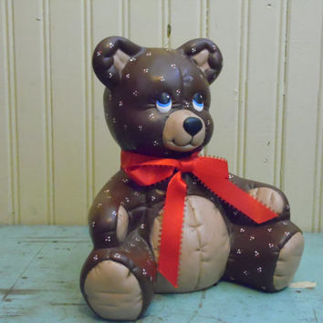 FREE SHIPPING - Brown Bear/Bear Statue/Ceramic Animal/Nursery Decor/Ceramic Bear/Baby Room/Quilted Bear/Ceramic Bear/Teddy Bear/1980's Bear