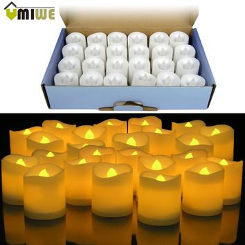 24pcs Yellow LED Flameless Candle Lamp Votive Bars Holiday Wedding Battery-Powered Electronic Pillar Candle For Home Decoration