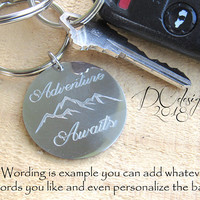 Adventure Awaits, Mountain, Nature, Personalised Keyring, Custom Keychain, Stainless Steel, Personalised Gift, Boyfriend Gift, Husband Gift