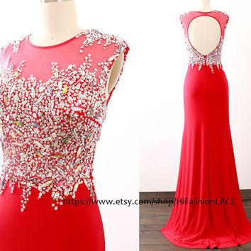 Red Prom Dresses with Open Back, Mermaid Jersey Sequin Long Prom Gown , Jersey Formal Dresses, Evening Gown, Wedding Bridesmaid Dress