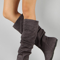 Soda Zuluu-S Suede Slouchy Knee High Flat Boot