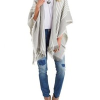 Gray Combo Woven Striped Skimono with Fringe by Charlotte Russe