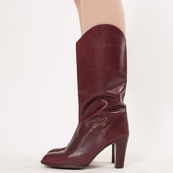 70s Leather Boots - Vintage Etienne Aigner Boots - Oxblood Leather