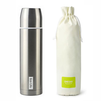 ONEDAY Vacuum Thermos Cup Water Bottle Coffee Mug Tea Cup Thermal flasks portable glass bottle creative black Insulated Mugs