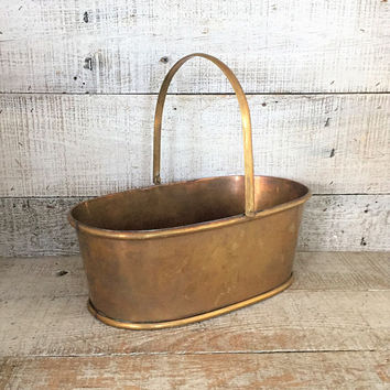 Brass Basket Brass Planter Farmhouse Chic Basket Gold Basket Metal Basket Large Brass Planter Basket Planter Indoor Planter Outdoor Planter