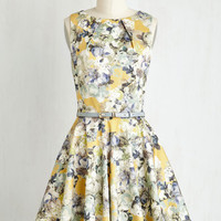 Sleeveless Fit & Flare Luck Be a Lady Dress in Saffron Florals