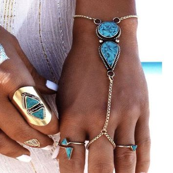 IM- Lady Boho Retro Turquoise Slave Chain Ring Bracelet Hand Harness Jewelry Fas