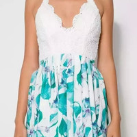 White Floral Print Lace Criss-Cross Back Asymmetrical Romper