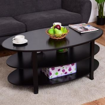 3-Tier Wood Oval Coffee Table Modern