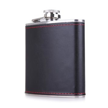 6oz Hip Flask Leather Wrapped Flagon Portable Stainless Steel Whiskey Alcohol Drinkware