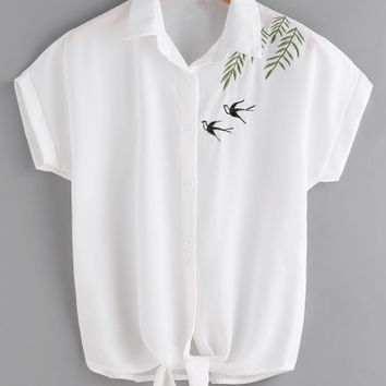 Swallows Embroidered Self Tie Front Shirt