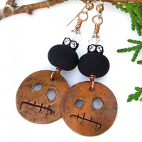 Halloween Gremlin Earrings, Copper Black Lampwork Swarovski Crystals Handmade Jewelry for Women