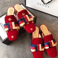 GUCCI Embroidered velvet slide with Sylvie