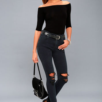 Sophie High Rise Washed Black Distressed Skinny Jeans