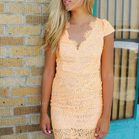 Miami Spotlight Neon Peach Fitted Open Back Lace Dress
