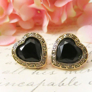 Vintage Tribal Black Heart Earrings  by Reneeloveandco