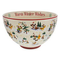 Santa Mickey Mouse and Friends Happy Holidays Serving Bowl   Disney Store