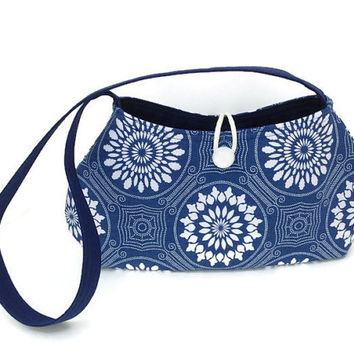 Blue handbag, Hand bag blue, navy blue purse, Denim blue tote, Tote bag navy, Shoulder purse blue, Shoulder bag print, Fabric purse