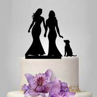 Lesbian cake topper, same sex wedding cake topper, mrs and mrs wedding cake topper with dog, lesbian silhouette, rustic cake topper acrylic