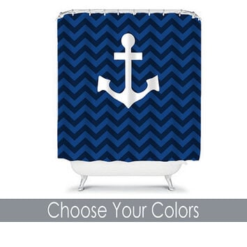 ANCHOR SHOWER CURTAIN Navy Blue Chevron Custom Monogram Personalized Nautical Bathroom Decor Beach Towel Plush Bath Mat Made in Usa