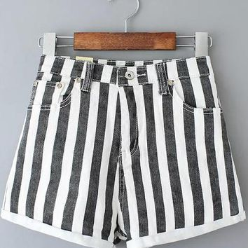Day-First™ Black and White Vertical Stripe Folded Hem Shorts