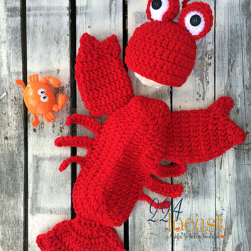 Lobster Hat and Snuggler Set, Photo Prop, Lobster, Photography Prop, Baby Shower Gift, Halloween Costume, Newsboy, Crochet Baby Pants