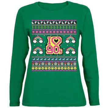 PEAPGQ9 I Love the 90s Retro Nostalgia Ugly Christmas Sweater Womens Long Sleeve T Shirt
