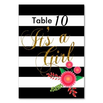 Elegant Black and White Stripes With Pink Floral Table Cards