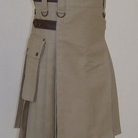 Great gift : Handmade Active Men Khaki Deluxe Utility Fashion Custom Kilt