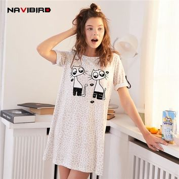 Summer Nightgowns Leopardt For  Women'S O-Neck Sleep Lounge Cotton Short Loose Sleep Tops Comfortable Nightwear Nightshirts