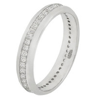 Sterling Silver Round Cut CZ Dome Eternity Ring Size 5-10