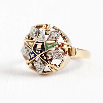 Vintage OES Ring - 10k Rosy Yellow & White Gold Order of Eastern Star Diamond Statement - Retro Size 6 Colorful Enamel Masonic Fine Jewelry