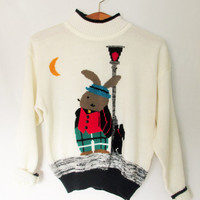 Vintage 1980s Bunny Streetlight Dog Knit Sweater