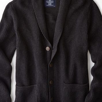 AEO 's Ribbed Shawl Cardigan (Blackout Heather)