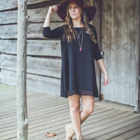 Peak-a-boo Ribbon Black Dress