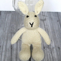 Hand Knit Bunny Rabbit Stuffed Animal, Ready To Ship, Newborn Photo Prop, Boy or Girl Baby Toy, Baby Gift, Cream Ivory Knit Toy  10 1/2""