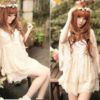 Kawaii Princess Cute Sweet Dolly Wedding batwing Sleeve Lolita Cotton Lace Dress