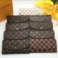 LV High quality Multicolor Buckle and zipper Women Leather Purse Wallet I-LLBPFSH
