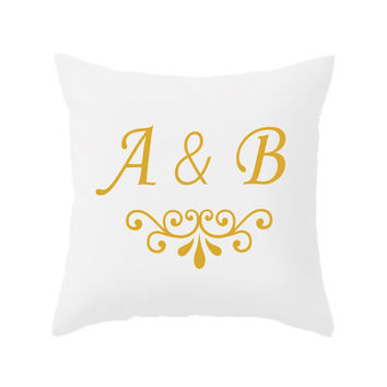 Custom Decorative Throw Pillow - 4 different sizes, Indoors, Outdoors, Monogram, Initials, Names, Date, Classic, White, Custom, Personalized