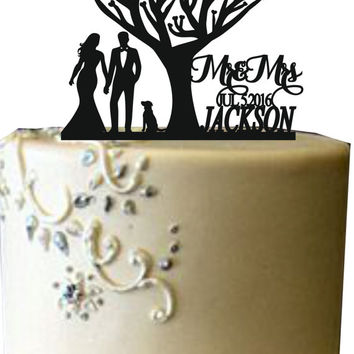 Unique wedding cake topper, Silhouette personalized wedding cake topper, Mr and Mrs Wedding cake topper, Bride and groom cake topper a dog