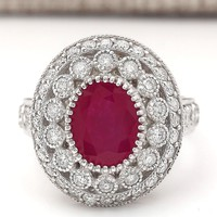 Antique & Vintage Reproduction Ring - Ruby & White Topaz